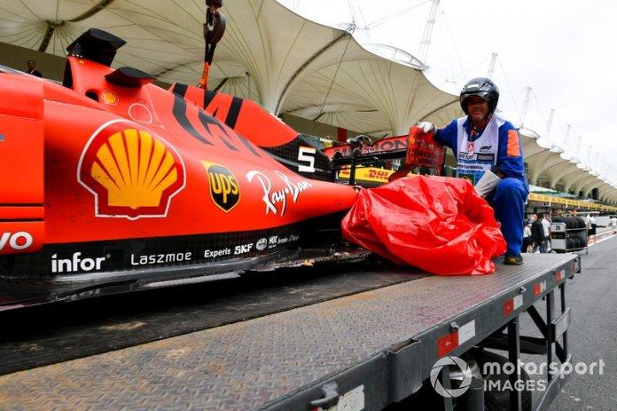 Monoplaza dañado de Sebastian Vettel, Ferrari SF90