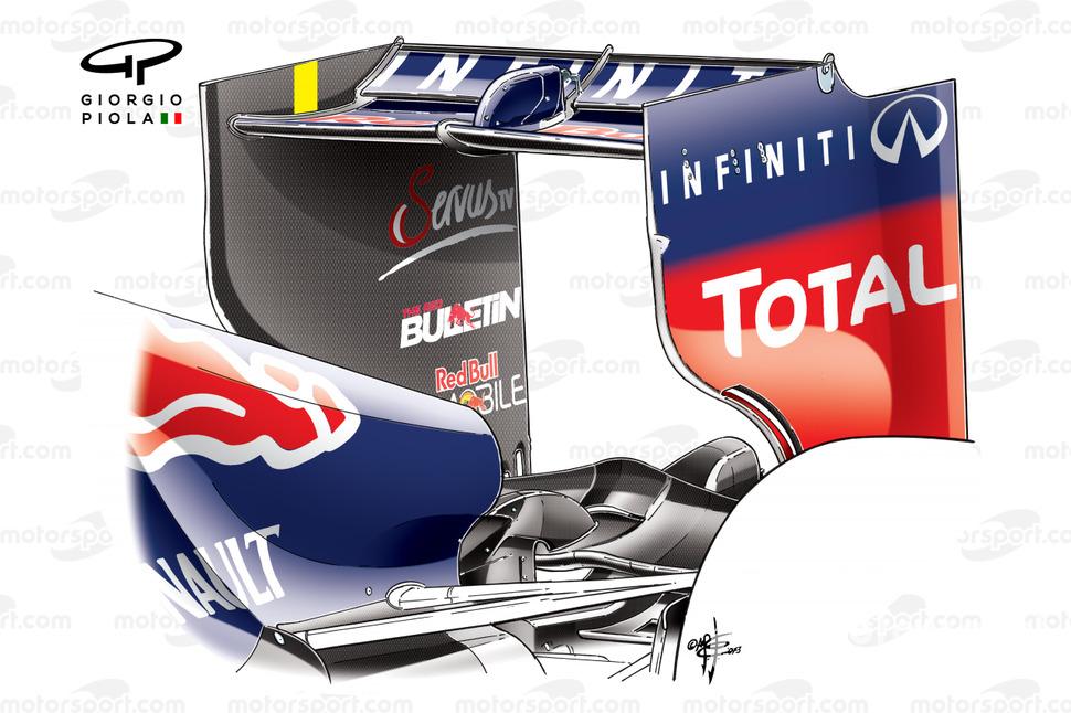 Red Bull RB9 rear wing, Vettel's car