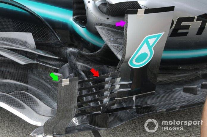 Detalle técnico del Mercedes F1 AMG W10