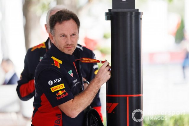 Christian Horner, Team Principal, Red Bull Racing, arrives in the paddock