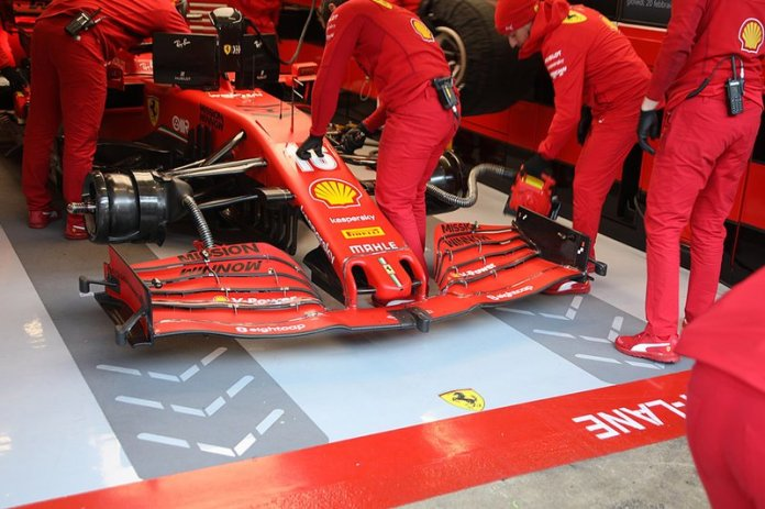 Detalle del alerón delantero del Ferrari SF1000