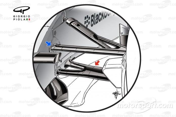 Mercedes W05 front suspension detail