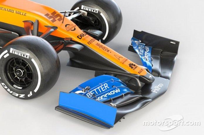 McLaren MCL35, detalle del alerón delantero