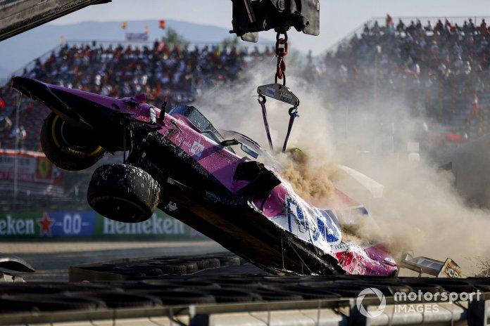 El monoplaza de Lance Stroll, Racing Point RP20 después del accidente
