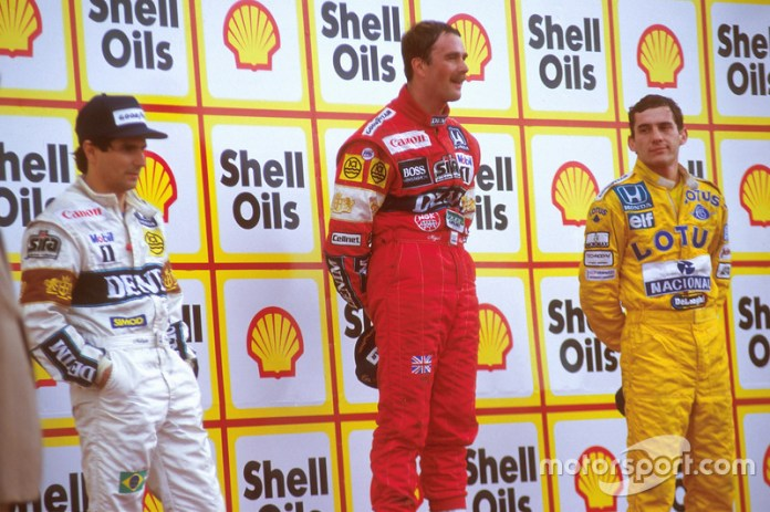 8. GP de Gran Bretaña 1987: Nigel Mansell (Williams) y Nelson Piquet (Williams)