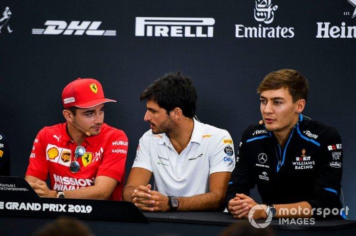Charles Leclerc, Ferrari, Carlos Sainz Jr., McLaren and George Russell, Williams