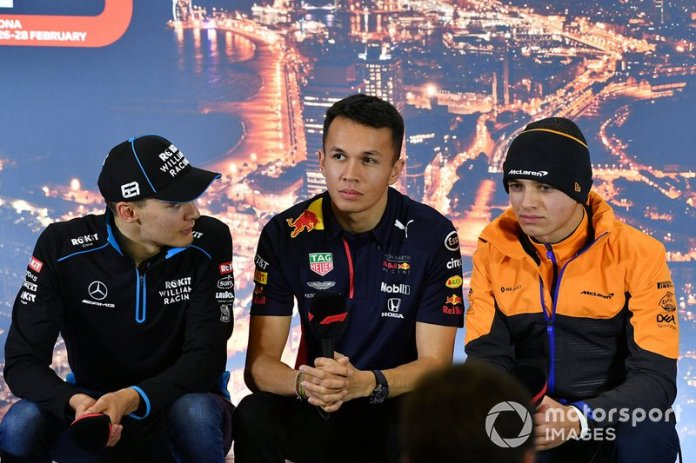 George Russell, Williams Racing, Alexander Albon, Red Bull Racing y Lando Norris, McLaren en la conferencia de prensa