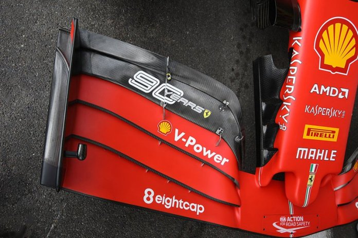 The front wing of the Ferrari SF90