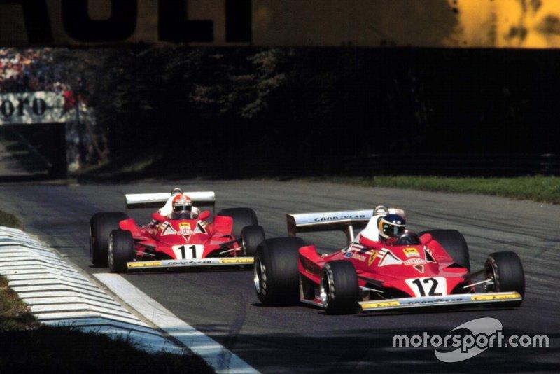 Carlos Reutemann precedes Niki Lauda