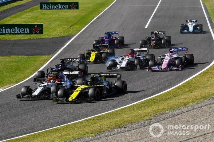 Lance Stroll, Racing Point RP19, Nico Hulkenberg, Renault F1 Team R.S. 19, Antonio Giovinazzi, Alfa Romeo Racing C38, Romain Grosjean, Haas F1 Team VF-19, Sergio Perez, Racing Point RP19
