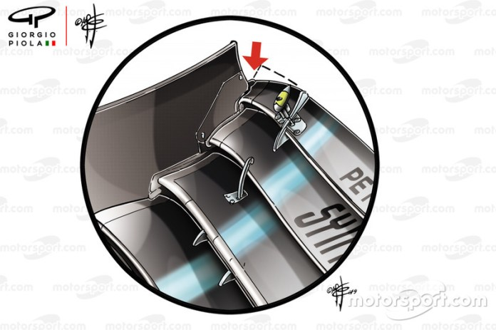 Mercedes W10 front wing flap