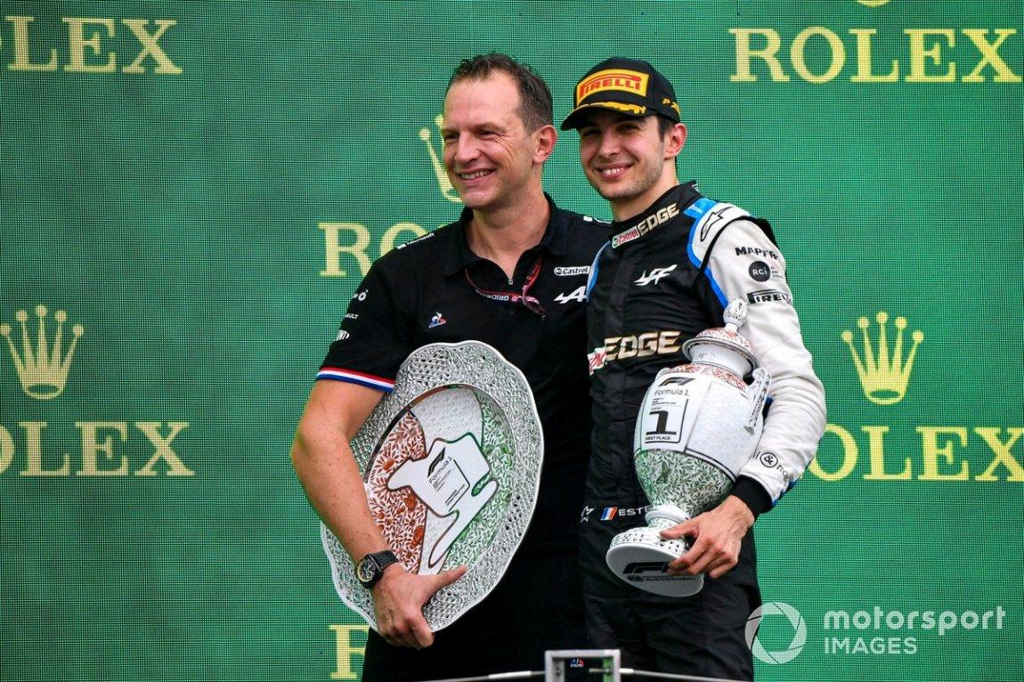 Laurent Rossi, CEO, Alpine F1, and Esteban Ocon, Alpine F1, first place, on the podium