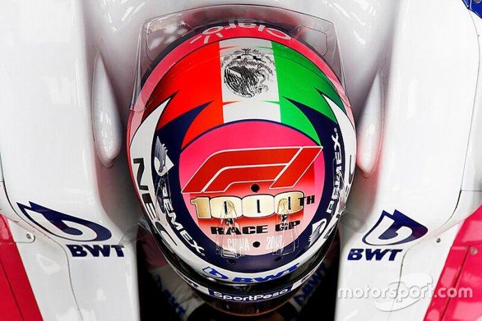 Casco de Sergio Pérez, Racing Point, para el GP de China