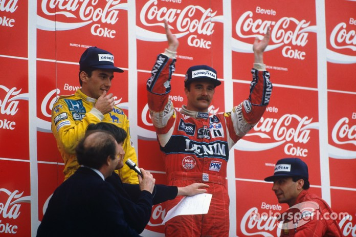 4. GP de San Marino 1987: Nigel Mansell (Williams) y Ayrton Senna (Lotus)