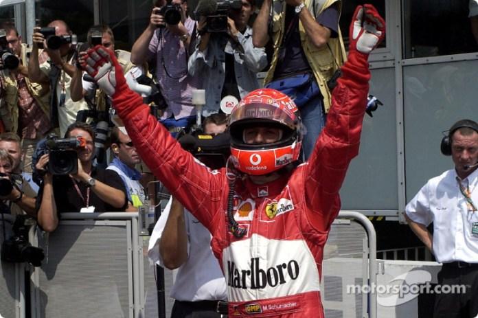 En el GP de 2002, en casa, Michael Schumacher logró su décimo Hat Trick en su carrera en F1.