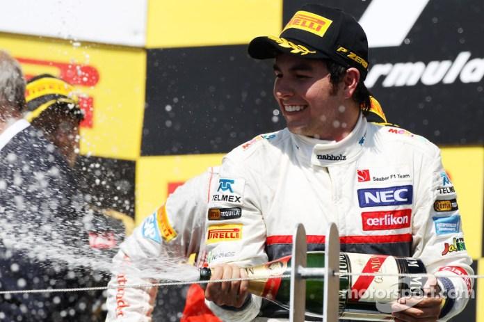 Sergio Pérez, Sauber celebra su tercer puesto en el podio de Canadá en 2012