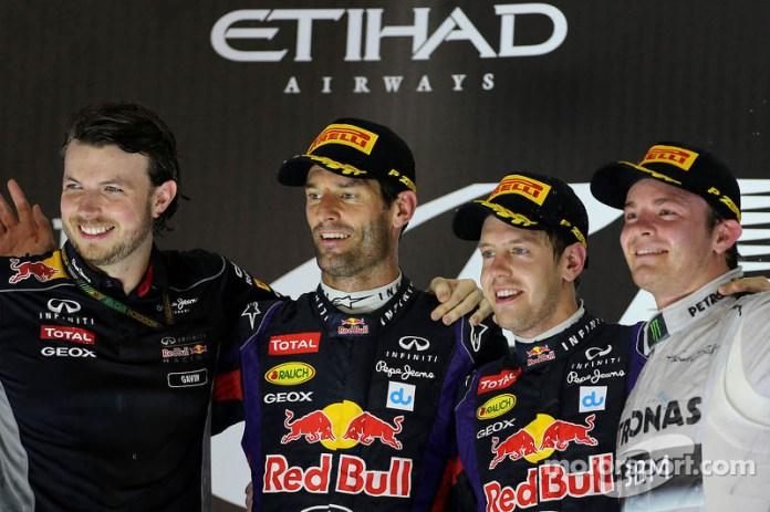 2013: Mark Webber, Red Bull Racing, Sebastian Vettel, Red Bull Racing y Nico Rosberg, Mercedes GP