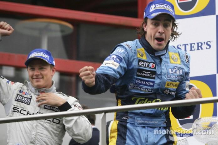 21- Fernando Alonso, 2º en el GP de Bélgica 2005 con Renault