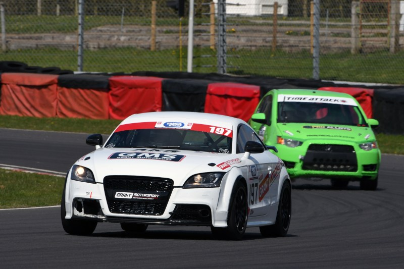 Alex Kite (Audi TT) finished ahead of Neil Greenland (Mitsubishi Colt Ralliart) in Saloons at Castle Combe
