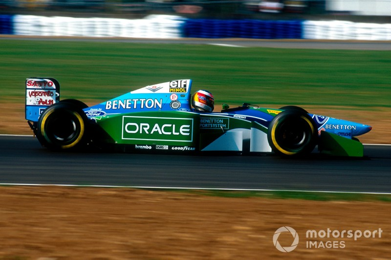 1994 British Grand Prix. Silverstone, England. 8-10 July 1994. Michael Schumacher (Benetton B194 Ford) 2nd position. He was later disqualified for overtaking on the formation lap.