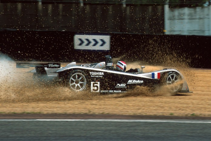 Eric Bernard ploughs his Cadillac LMP into the gravel during Le Mans 24 Hours prequalifying, 2001