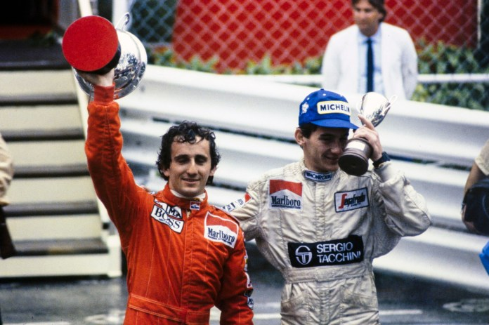 Red flag amid worsening rain hampered Senna's hopes of catching Prost in the Toleman