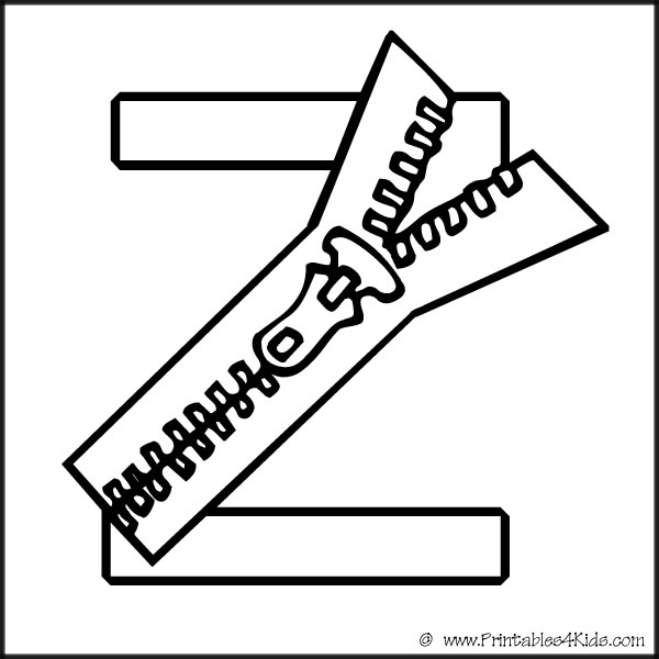 alphabet coloring page letter z zipper printables for kids free