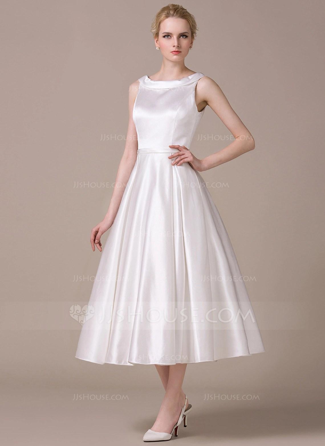 A LinePrincess Scoop Neck Tea Length Satin Wedding Dress