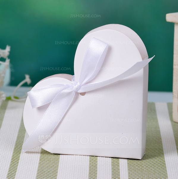Heart Shaped Favor Boxes With Ribbons Set Of 12