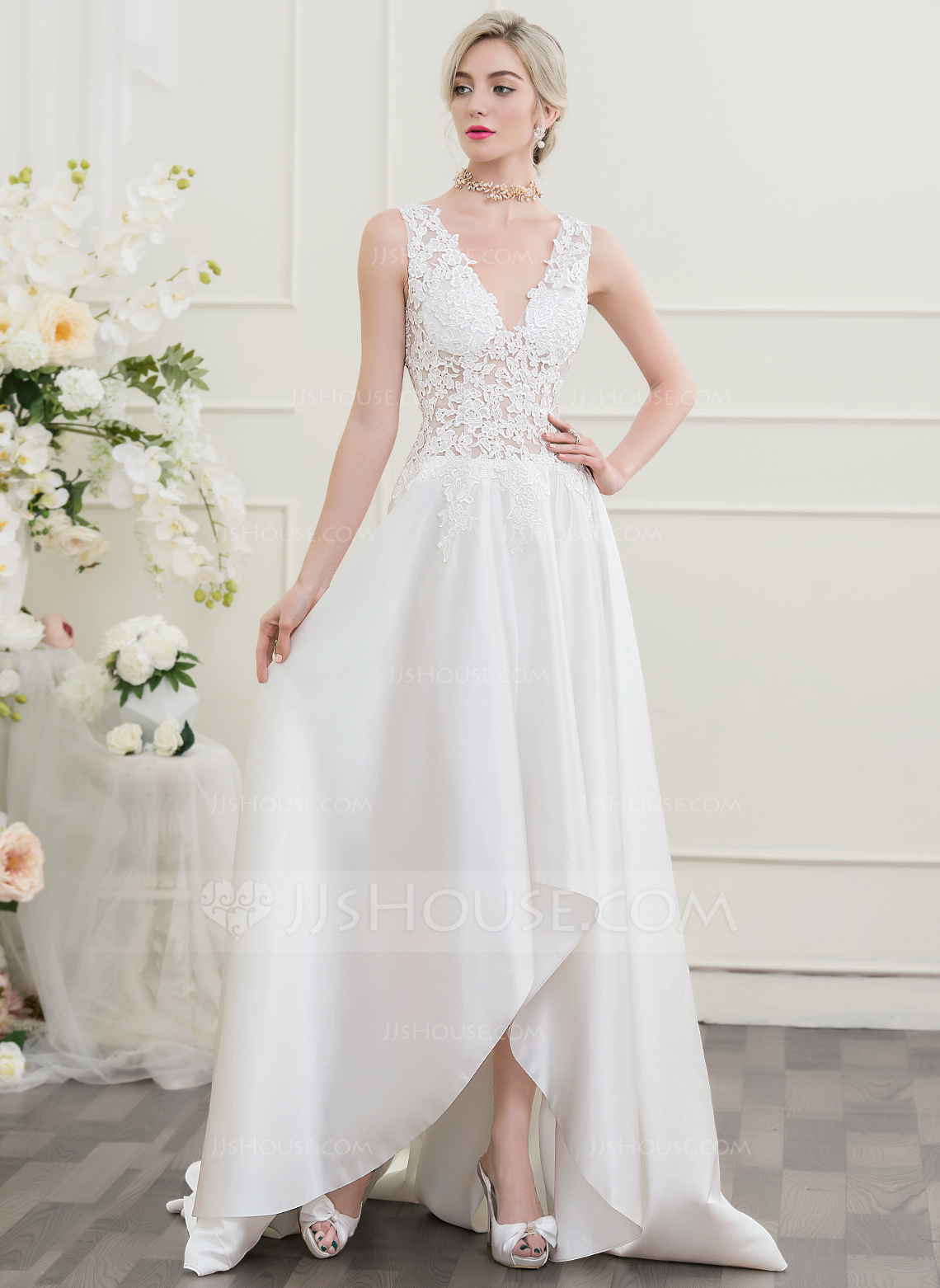 A LinePrincess V Neck Asymmetrical Wedding Dress
