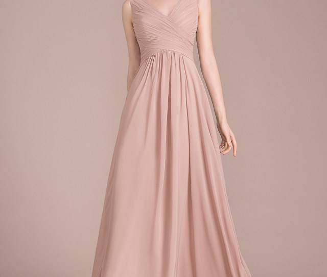 3e4de53ddf5 A Line Princess V Neck Floor Length Chiffon Bridesmaid Dress With Ruffle Loading  Zoom
