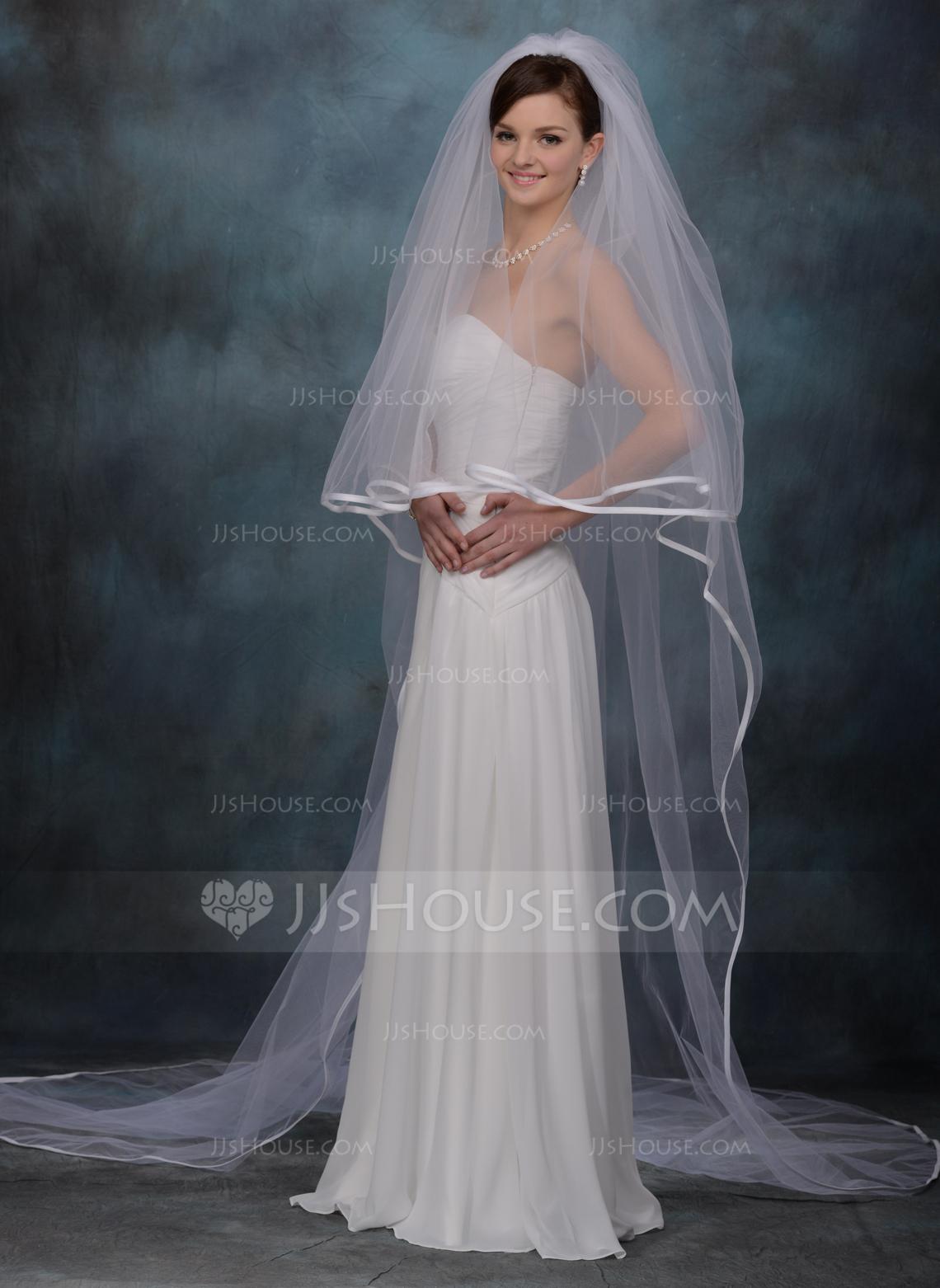 Two Tier Cathedral Bridal Veils With Ribbon Edge
