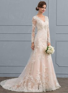 Wedding Dresses  Affordable   Under  100   JJ sHouse Trumpet Mermaid V neck Court Train Tulle Lace Wedding Dress