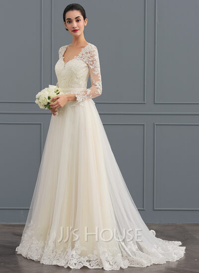 Ball Gown V Neck Sweep Train Tulle Wedding Dress
