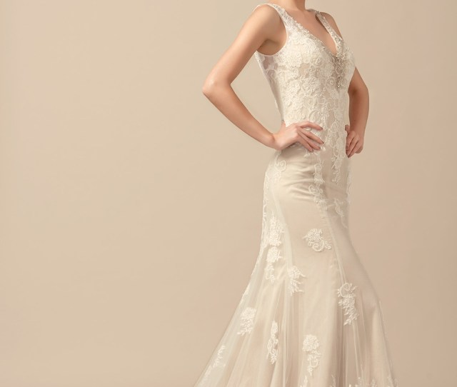 33b93d723b25 Trumpet Mermaid V Neck Sweep Train Tulle Wedding Dress With Beading Loading  Zoom