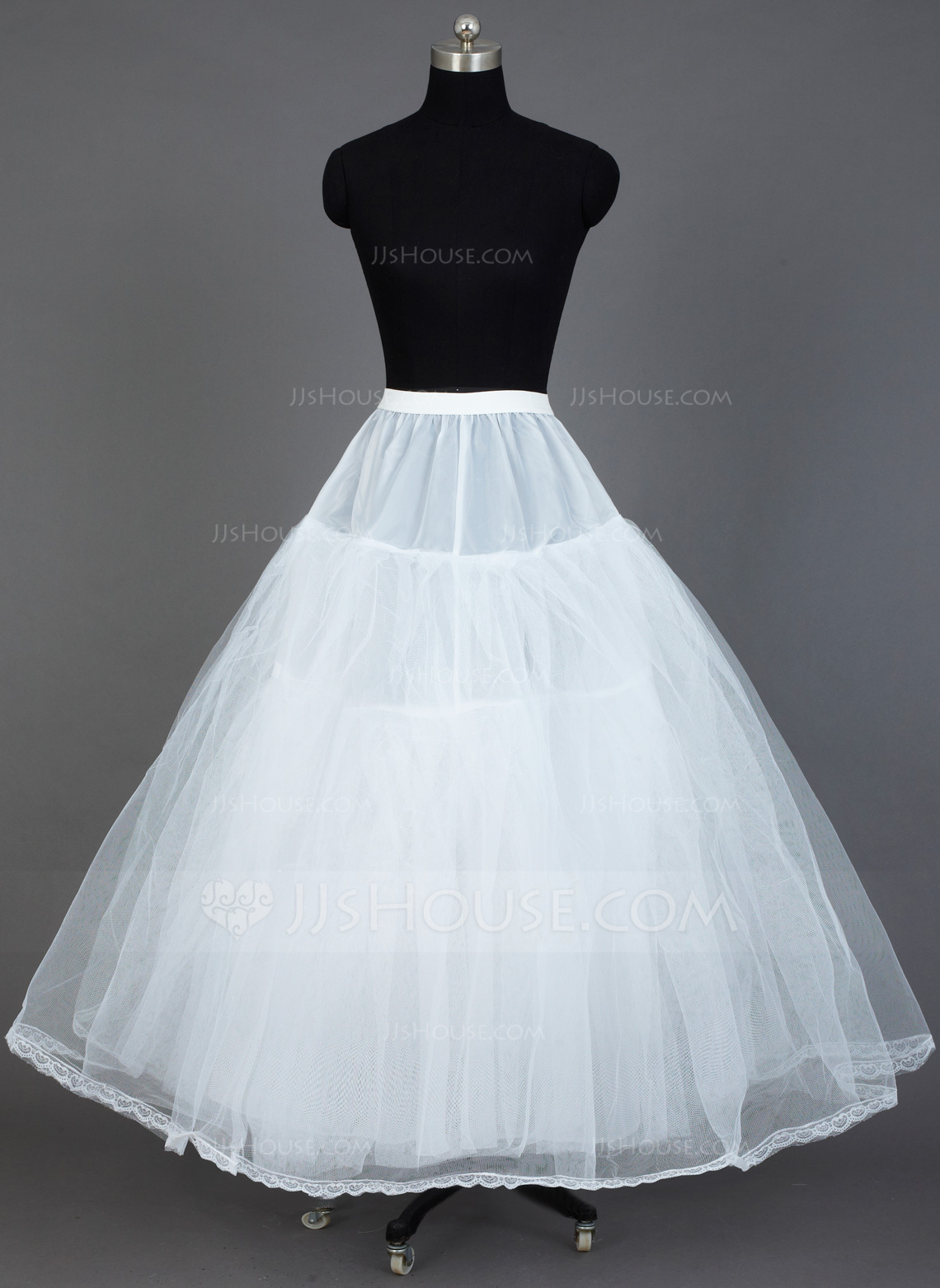 Women Tulle NettingTaffeta Floor Length 3 Tiers
