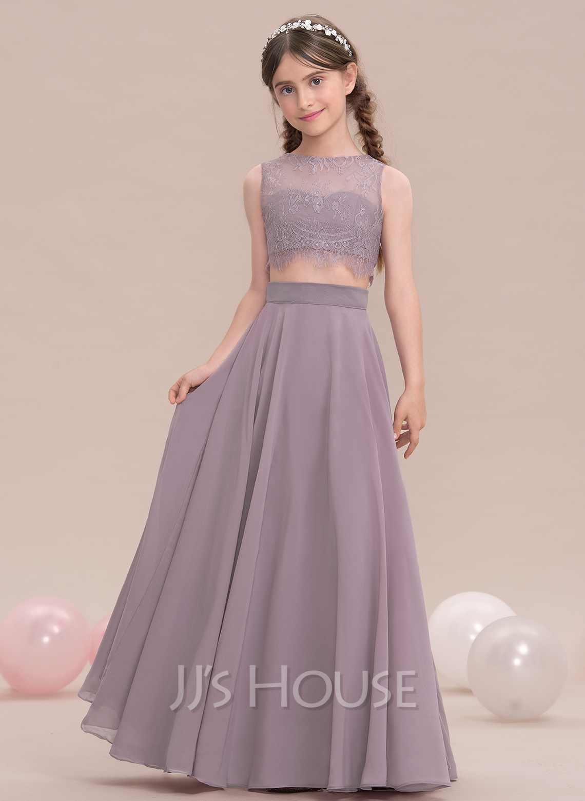 A LinePrincess Scoop Neck Floor Length Chiffon Junior