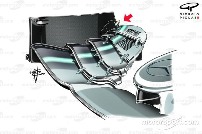 Mercedes AMG F1 W10, dettaglio dell'ala anteriore tradizionale