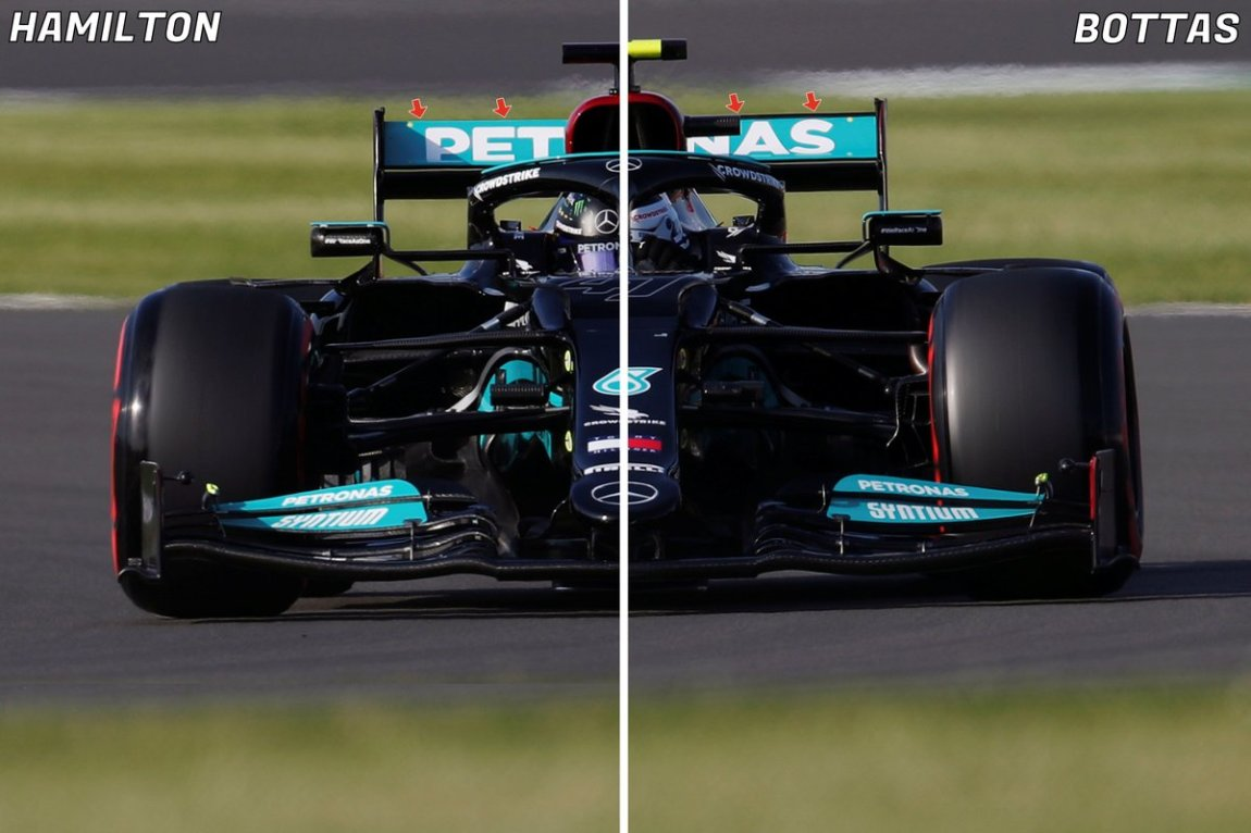 Mercedes W12, comparison of the rear wing with Hamilton without the nolder compared to Bottas