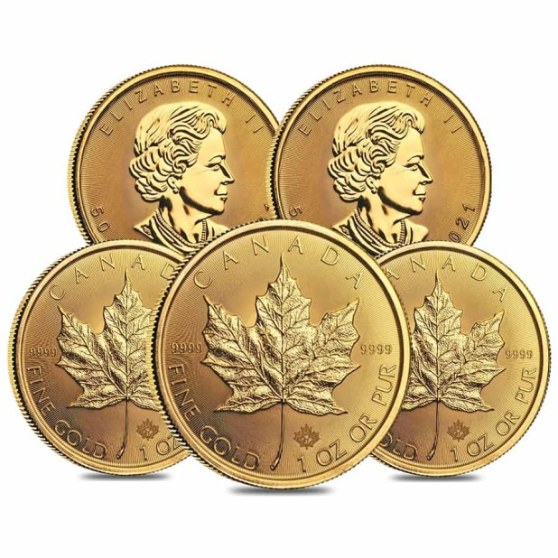 Lot of 5 - 2021 1 oz Canadian Gold Maple Leaf $50 Coin ...