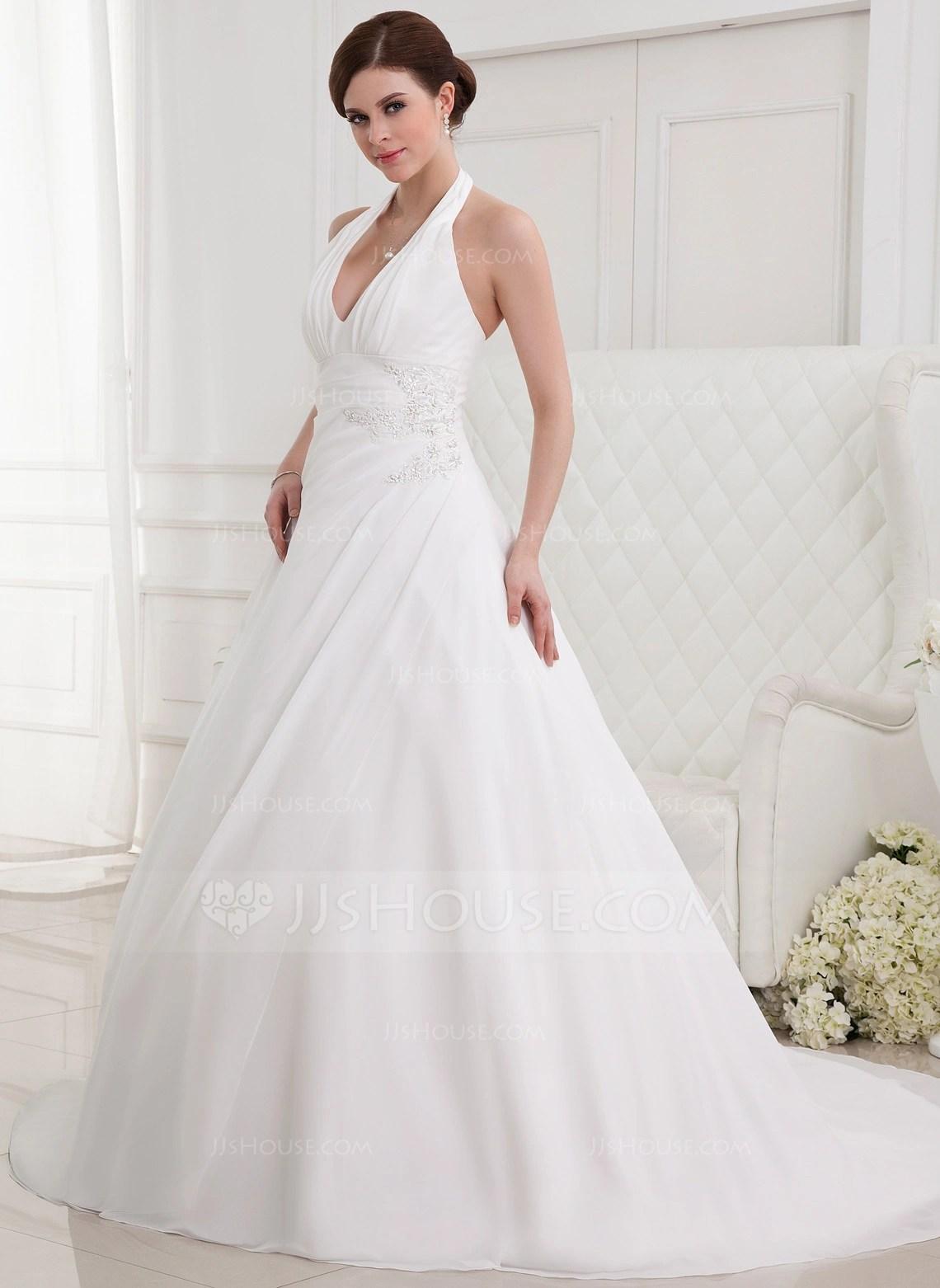 A LinePrincess Halter Chapel Train Chiffon Wedding Dress