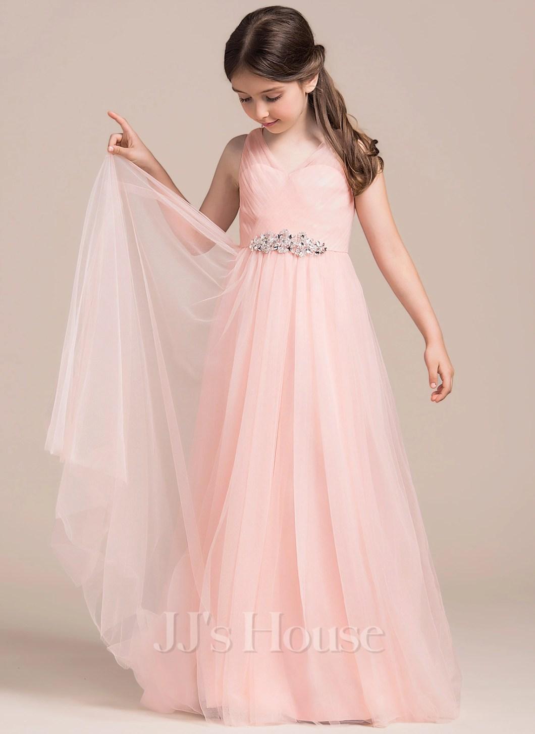 0839206d063 A Line Princess Floor Length Flower Girl Dress Tulle Sleeveless V