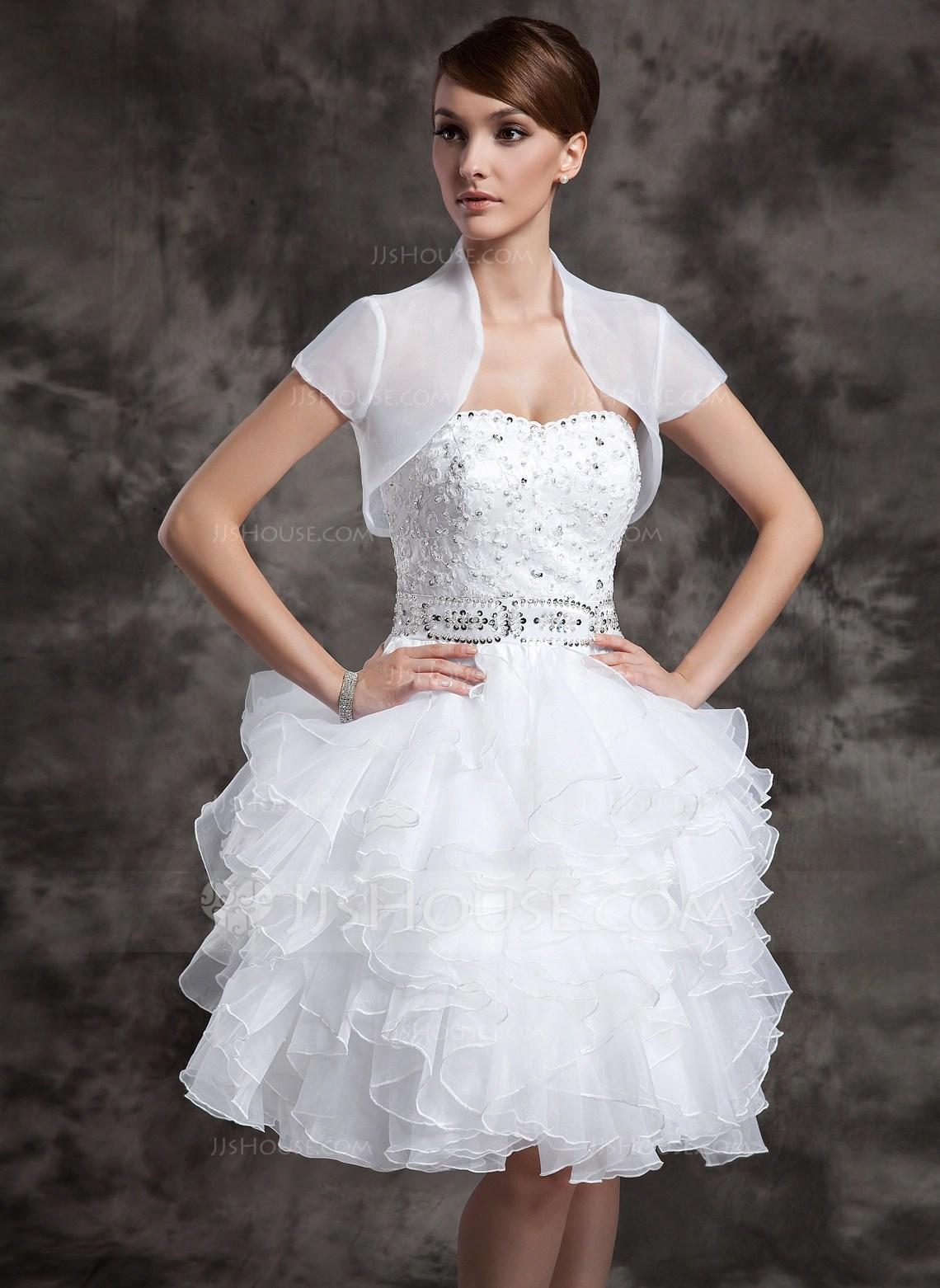 Short Sleeve Organza Wedding Wrap 013004598 Wraps
