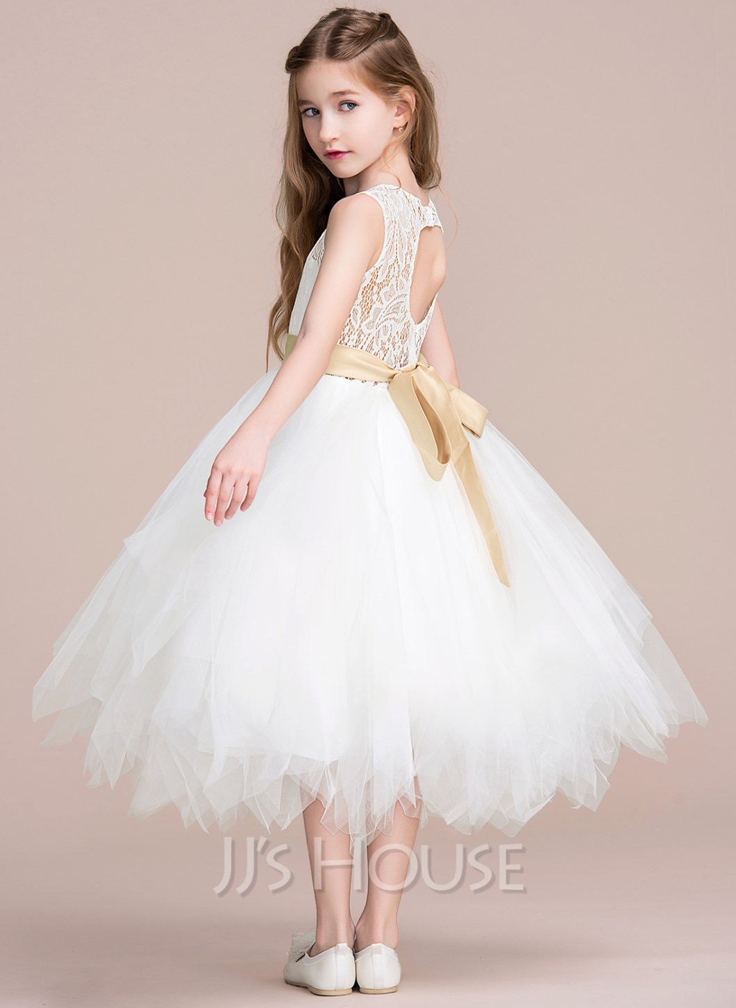 7a495d63f2c A Line Princess Tea Length Flower Girl Dress Tulle Lace Sleeveless