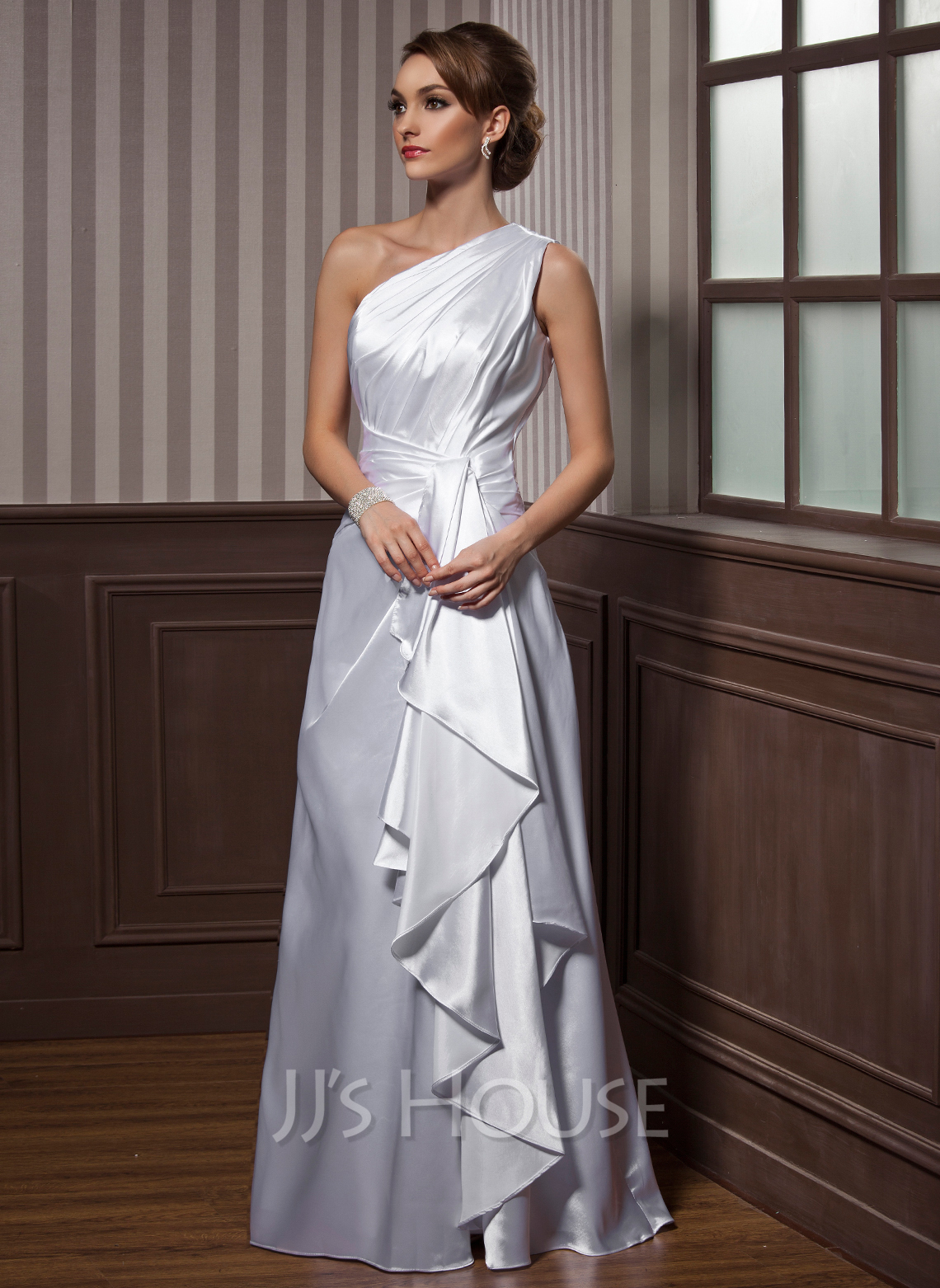 A LinePrincess One Shoulder Floor Length Charmeuse