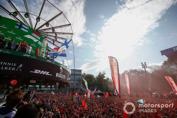 Valtteri Bottas, Mercedes AMG F1, Race winner Charles Leclerc, Ferrari and Lewis Hamilton, Mercedes AMG F1 celebrate on the podium