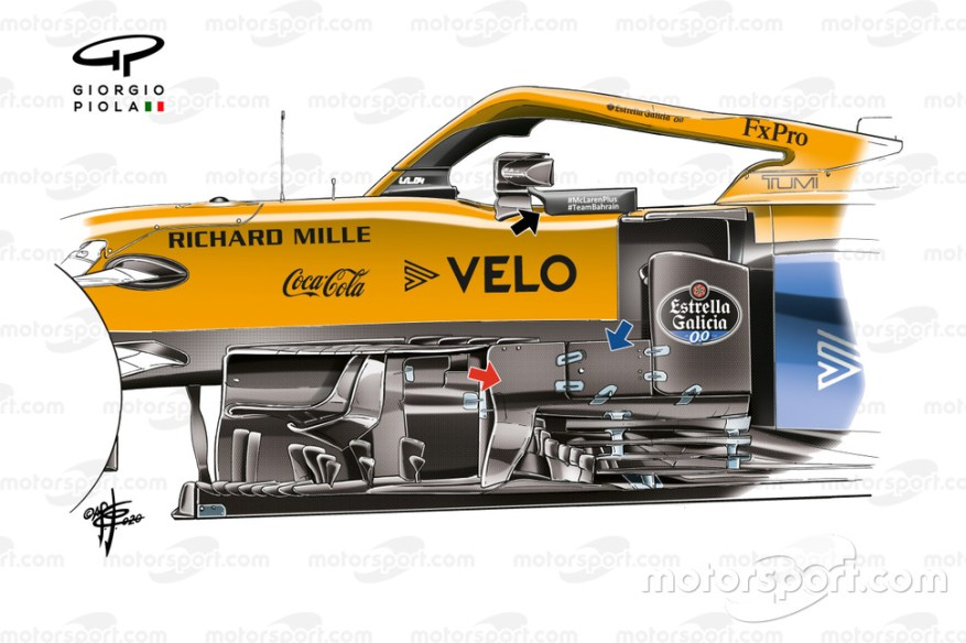 Bargeboards area on the McLaren MCL35 at the end of the 2020 season