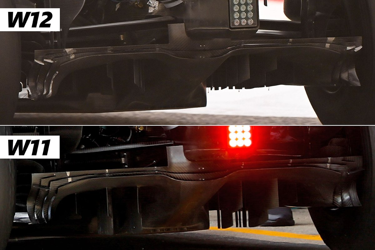 Comparison of Mercedes W12 and Mercedes W11 diffusers
