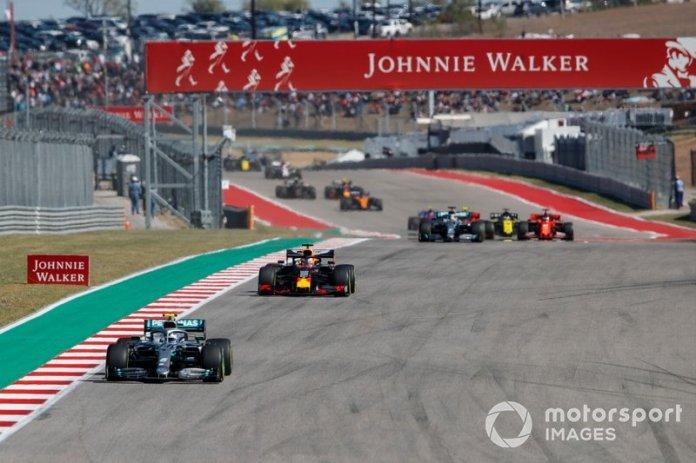Inicio Valtteri Bottas, Mercedes AMG F1, Max Verstappen, Red Bull Racing RB15, Lewis Hamilton, Mercedes AMG F1 W10