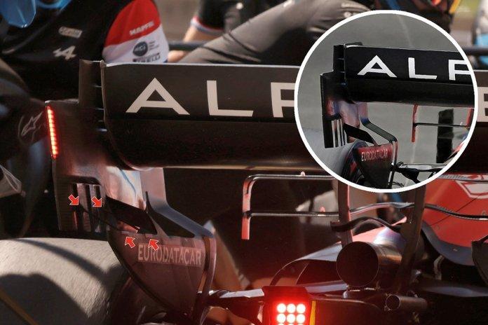 Alpine A521 high downforce rear wing comparison